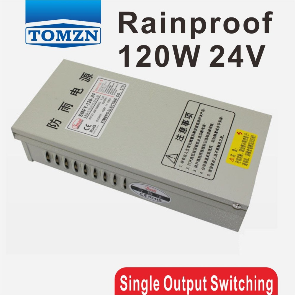 120W 24V 5A Rainproof outdoor Single Output Switching power supply smps AC TO DC for LED