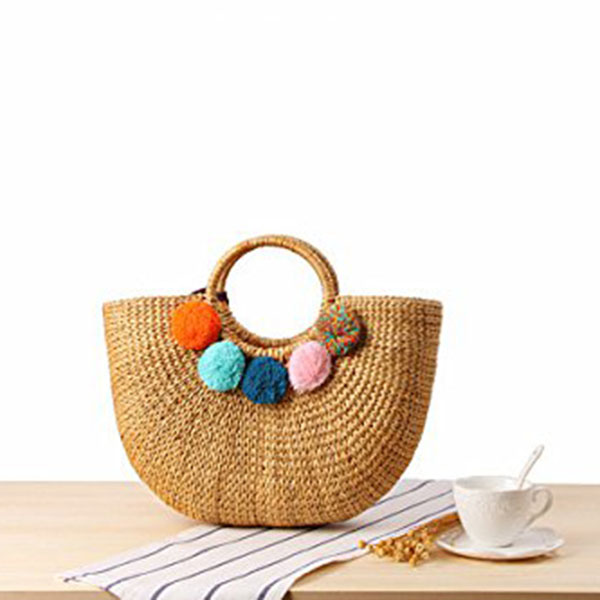 Image 3 - DCOS Womens Vintage Straw Woven Handbags Casual Beach Vacation Large Tote Bags With Round Handle Ring(Hairball)Top-Handle Bags   -
