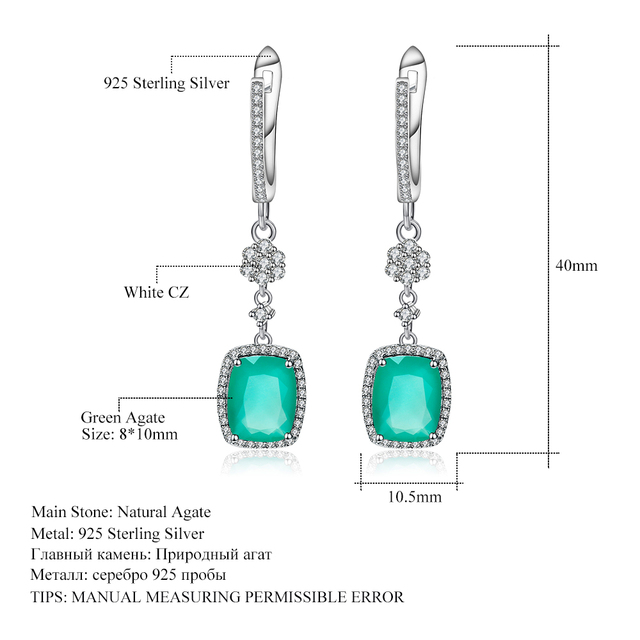 Gem's Ballet Natural Green Agate Solid 925 Sterling Silver 4.43ct Gorgeous Fine Jewelry Drop Earrings For Women New Fashion -in Earrings from Jewelry & Accessories on Aliexpress.com   Alibaba Group