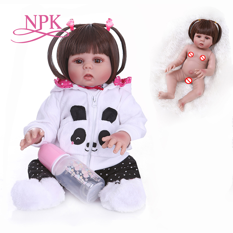 NPK 48CM bebe doll reborn toddler doll girl in panda dress full body soft silicone realistic