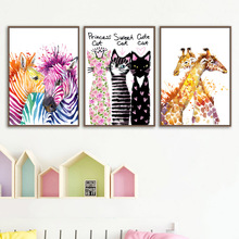 Watercolor Deer Cat Zebra Wall Art Canvas Painting Nordic Posters And Prints Animals Pictures Kids Room Pop Home Decor