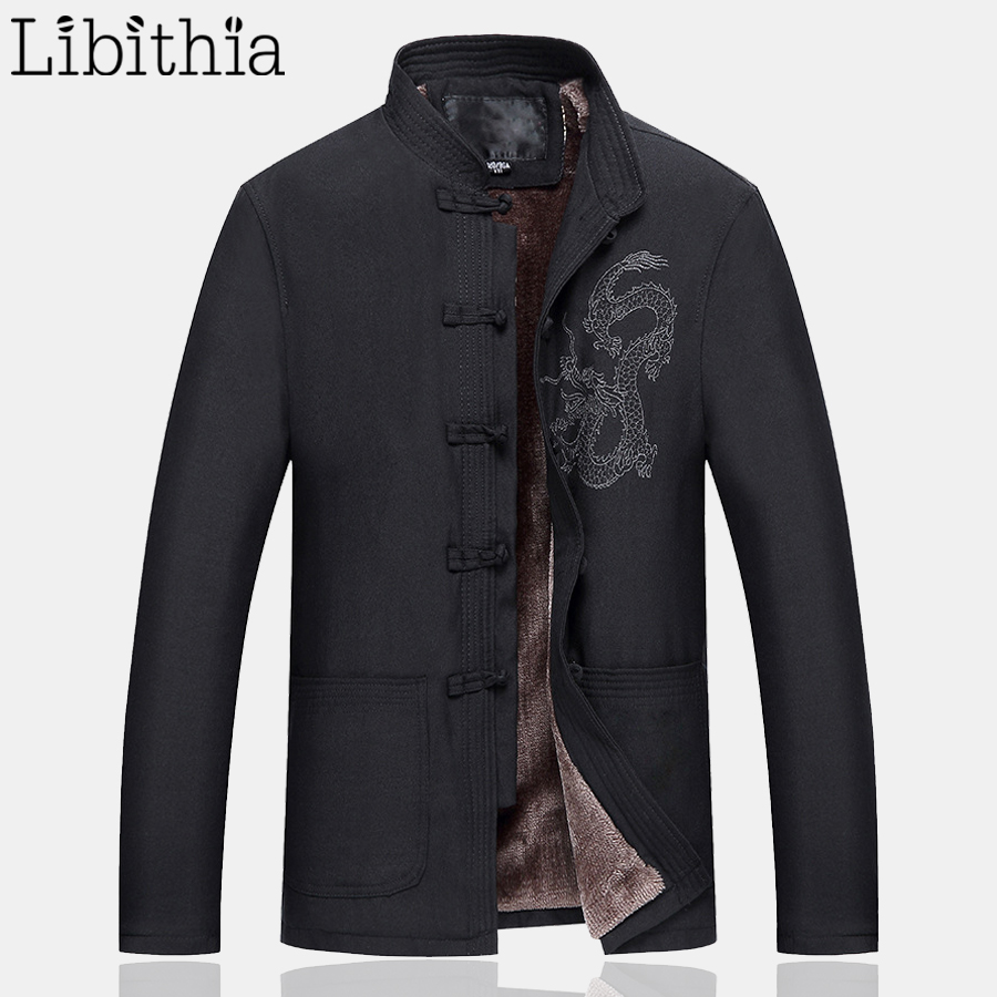 Linen Men Chinese Style Thick Jackets Winter Dragon Embroidery Frog Coats Casual Mandarin Collar Menswear Black Olive Green F037