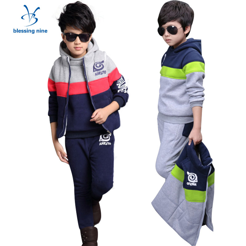 Sport Suit for Boys Winter Clothes Kids Tracksuit Cartoon Warm Teenager Children Clothing Sets Thick 3Piece Vest+Hoodies+Pants boys suit kids tracksuit clothing sets sport suit 100% cotton children s suit coat pants boys clothes kids clothing suit 2016