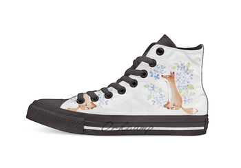 Fox and Blue Hydrangea Design breathable Casual High Top lace-up Canvas shoes sneakers фото