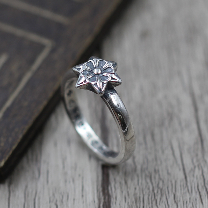 Thai Silver Jewelry Retro six-star Star Fine Men And Women Ring Finger Ring S925 Sterling Silver Personalized Ring