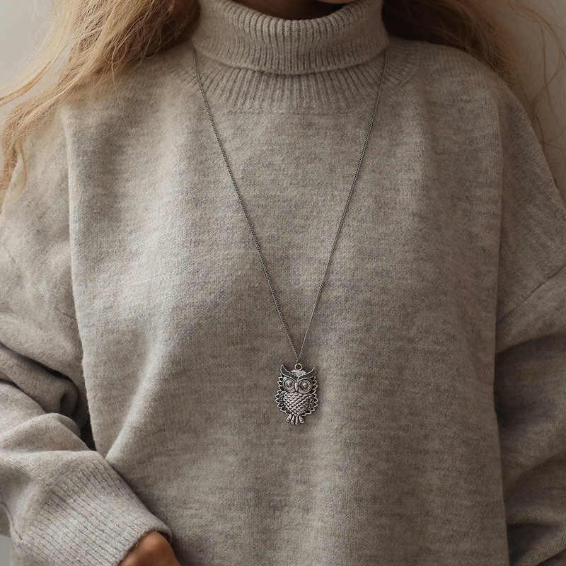 W stylu Vintage długi wisiorek sowa naszyjnik antyczny brąz kryształ naszyjniki zwierząt długi łańcuch biżuteria