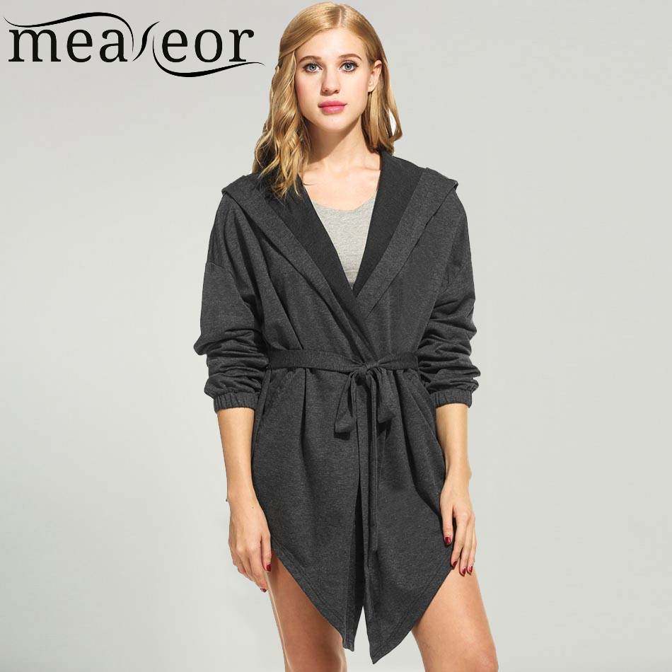 Meaneor 2017 New Women Casual Autumn Coat Hooded Belt Long Sleeve Solid Asymmetrical Loose Fashion Coat Sexy Worm Home clothing