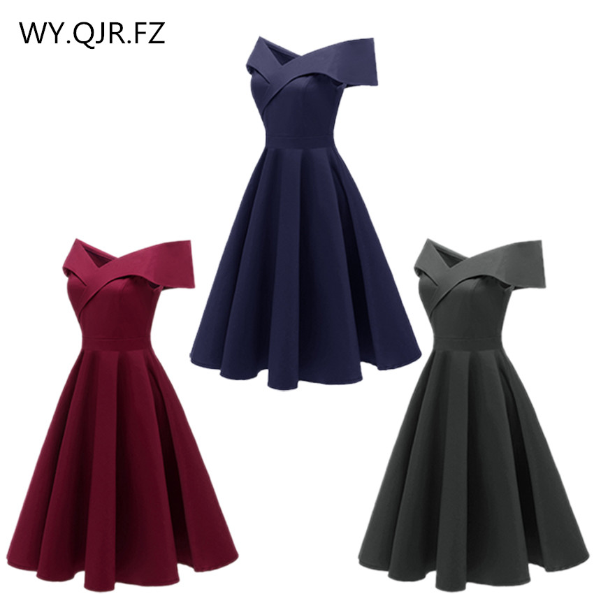 CD1635Q#Satin Drill Wine Red Navy Blue Black Short Boat Neck Bridesmaid Dresses Wessing Party Dress Gown Prom Wholesale Women