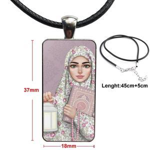 Image 3 - Voor Vrouwen Handgemaakte Meisjes Oosterse Vrouw In Hijab Gezicht Moslim Islamitische Ketting Mode Lange Ketting Met Rechthoek Ketting Sieraden
