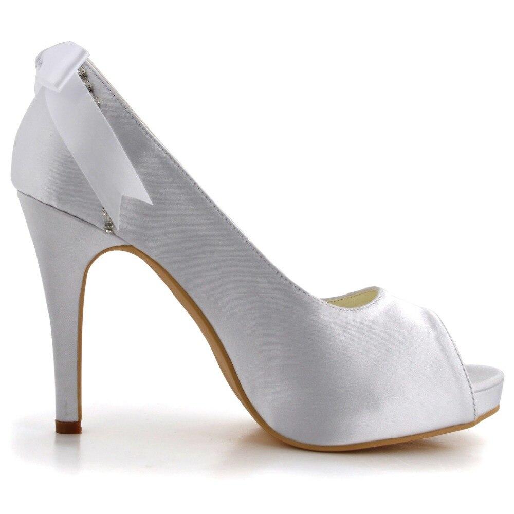 forme Femme Femmes De Peep Plate ip Pompes Chaussures Mariage Blanc Hauts Satin Ep2095 Toe Arc Strass Stiletto Talons HYWI2E9D