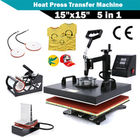 CHENJ 15x15 5 IN 1 Combo T Shirt Heat Press Transfer Machine Sublimation Swing Away Afor T Shirt Mug Hat Print