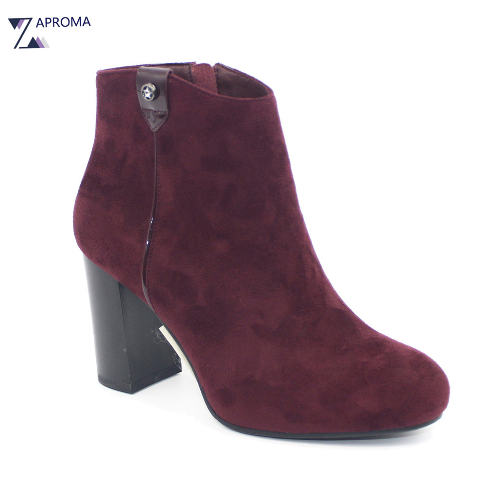 Casual Metal Decoration Wine Red Ankle Boots font b Women b font Suede Super High Heel