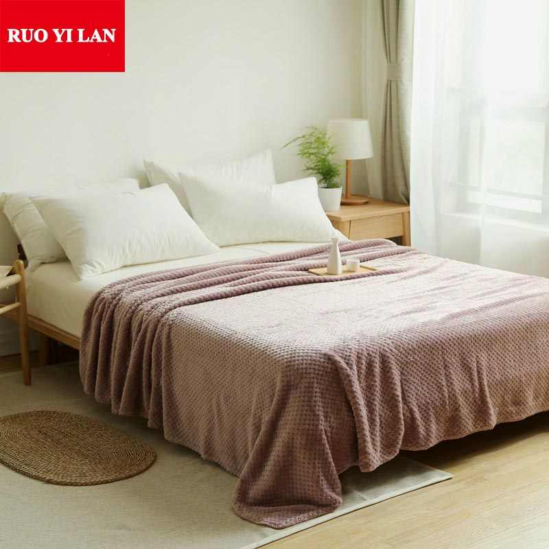 Single Double Queen King 200*230cm 4 colors sofa/air/bedding Throw solid color double faced travel Waffle Mesh Blanket