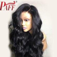 PAFF 13*4 תחרה מול שיער טבעי פאת Glueless צד חלק פרואני רמי שיער פאה מראש קטף מולבן קשרים Ombre & שחור צבע