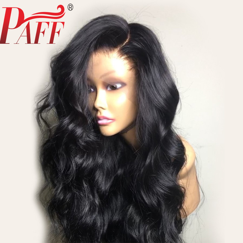 PAFF 13*4 Lace Front Human Hair Wig Glueless Side Part Peruvian Remy Hair Wig Pre Plucked Bleached Knots Ombre & Black Color