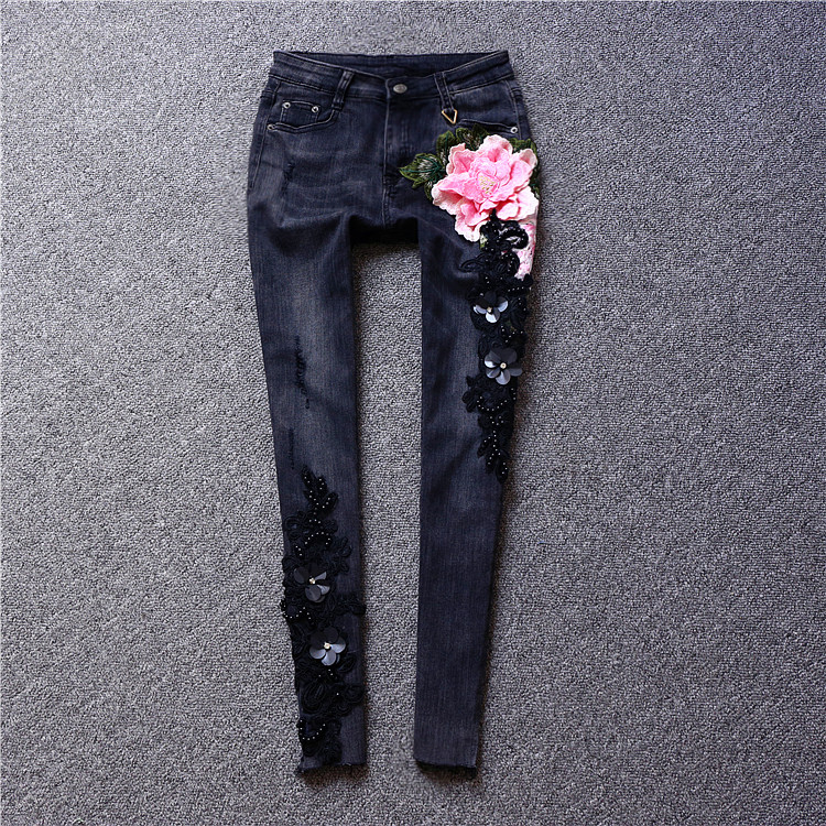 2017 new autumn and winter  all-match paillette beading denim trousers embroidery diamond slim pencil jeans
