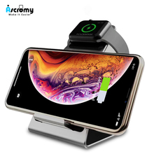 Ascromy kablosuz Qi telefon tutucu standı Dock şarj cihazı 10W Apple Watch serisi için 4 3 2 Iphone XS MAX XR 8 artı X iwatch istasyonu