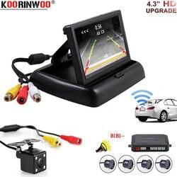Koorinwoo автомобиля Беспроводной Универсальный датчик парковки сигнализации Радар автореверса видео Системы складной монитор с комплект