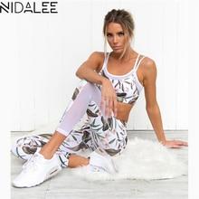 ФОТО NIDALEE Sport Suit Women Tracksuit Yoga Set Leaf Printed Fitness Elastic Gym Running Sportswear Workout Leggings Sports BraPant
