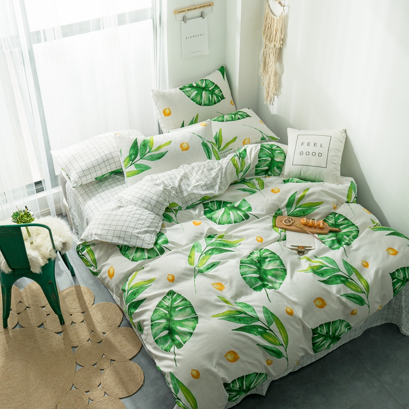 Tropical plant duvet cover set green leaves reactive printing 4PCS Bedding set holiday hotel bed set nature beauty home bedding in Bedding Sets from Home Garden