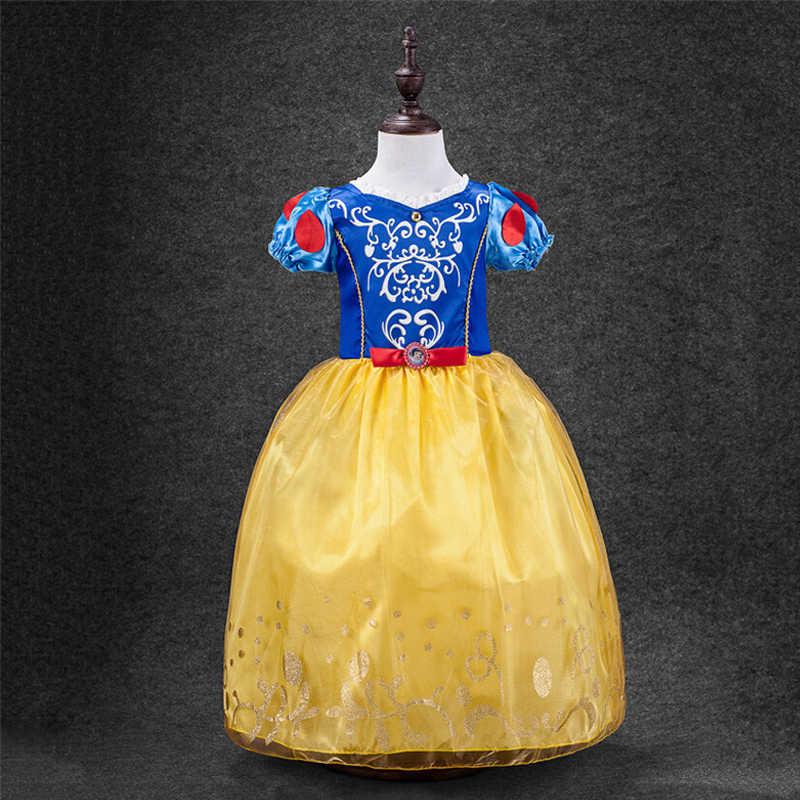Garota verão Branca De Neve Princesa Vestido de Rainha Da Neve Cosplay Traje Crianças Meninas Roupas Vestido de Festa de Aniversário Vestidos de Manga Puff