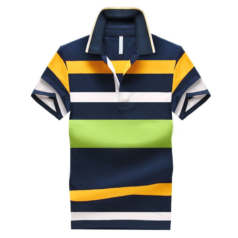 92% Cotton camisa Men Polo Shirt  2015 Casual Striped Slim short sleeves ASIAN SIZE M-4XL 11