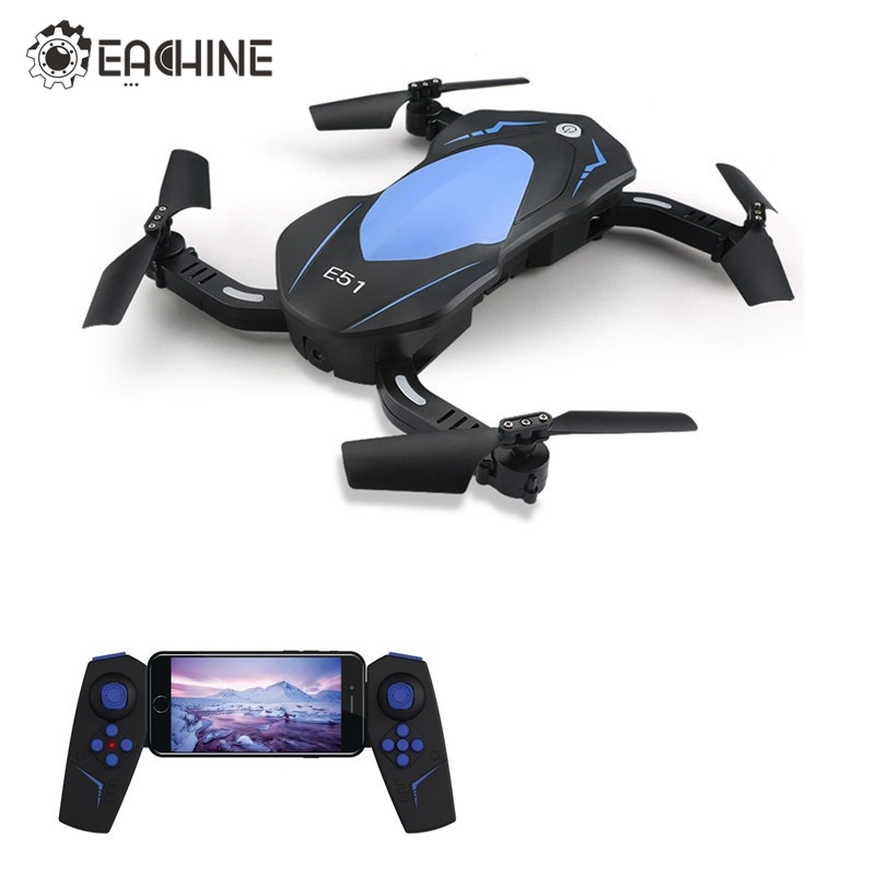 Eachine E51 WiFi FPV With 720P Camera Selfie Drone Altitude Hold Foldable Arm RC Drones Quadcopter Toys Gift RTF VS JJRC H37 H47 eachine e52 2mp wide angle wifi fpv with altitude hold foldable arm rc quadcopter drone toys rtf red blue vs jjrc h37 mini e50