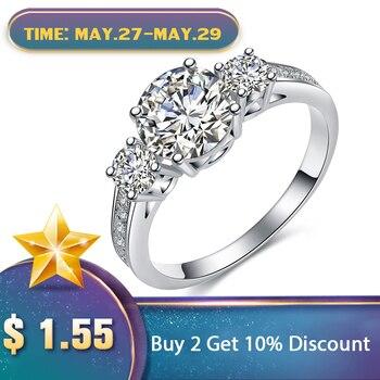 c0a213497609 UMODE romántico tres anillos de compromiso de piedra Color oro blanco CZ  Vintage boda mujer anillos joyería para mujeres Bijoux UR0325