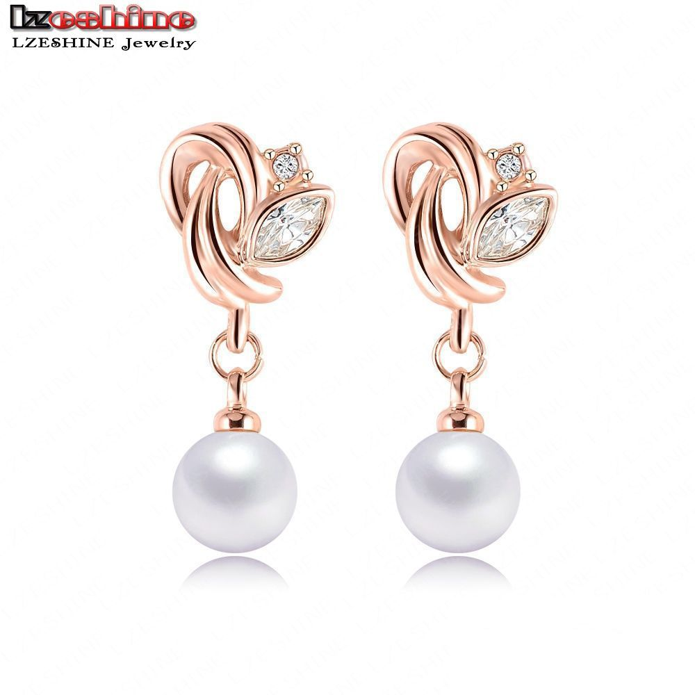 Lzeshine 2016 Fashion Jewelry Pearl Earrings Rose Gold Color Swa Element  Austrian Crystals Flower Earrings For