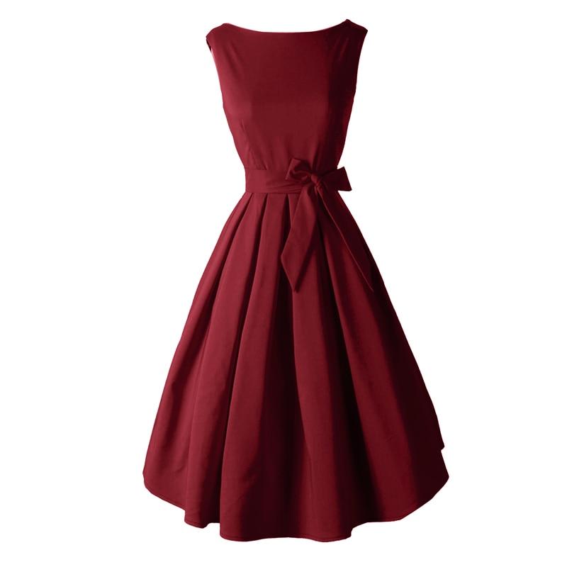 Red Black Audrey Hepburn Стиль 1950s рокабилли Dress - Әйелдер киімі - фото 2