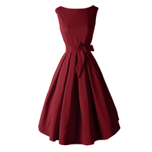 Red Black Audrey Hepburn Style 1950s rockabilly Dress 2017 New Summer Dress Sleeveless Bow Sash Women Vintage Retro Dresses