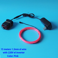 Free Shipping Pink 15Meters 1.3mm EL Wire Cable Rope Neon Led Strip Lights with AC220V Converter for Garden,Fence,Outdoor Decor