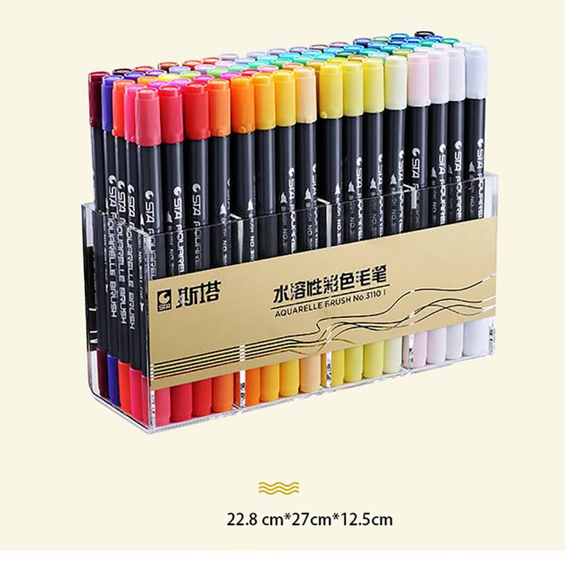 Dual Tip Watercolor Brush Markers Non-Toxic Water Based Lettering Marker Calligraphy Pens Coloring Brush Fineliner Color Random