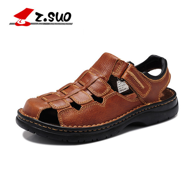 Z.SUO Brand 802 Men's Genuine Leather Beach Shoes Classic Toe Cap Cover Handmade Cow Leather Mens Sandals WIDE Plus Size 39-48