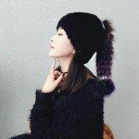 Mink fur fox fur hat fur hat stretch wool cap winter lady warm