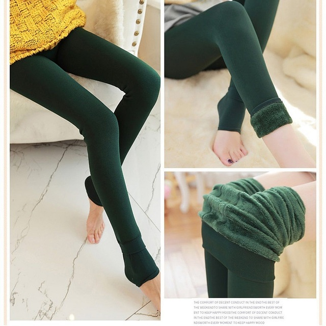 Women's Fashion Solid Winter Thick Hosiery Warm Fleece Lined Thermal Stretchy Trousers Slim Footless Leggings Pants