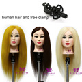 """Professional 23"""" 100% Real Hair Hairdressing Dolls Head Cosmetology Training Head Mannequins Practice Head with Clamp B40"""