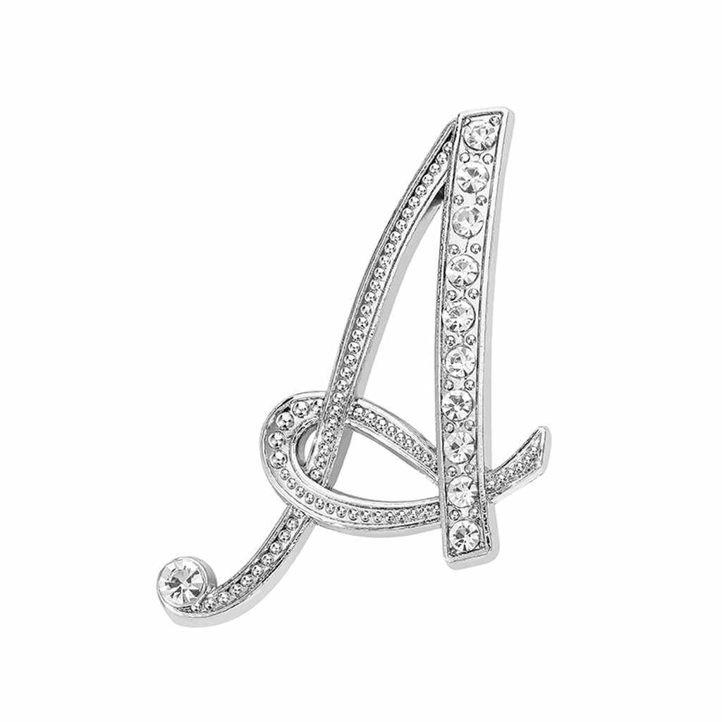 30#Fashion Jewelry Winter Accessorie 1PC Crystal 26 English Letters Brooch Pin Couple Memorial Jewelry Love Gifts Drop Shipping
