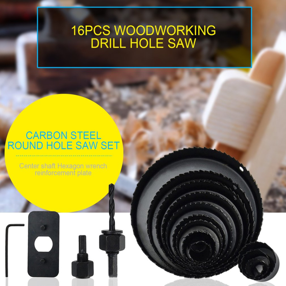 Drill  Wrench Carbon Steel  Professional Hole Saw Set Mandrels HexSaw Metal Alloys Circular Round  Bits For Wood Sheet new 50mm concrete cement wall hole saw set with drill bit 200mm rod wrench for power tool