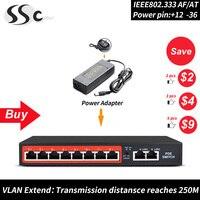Металлический корпус 8 портов poe коммутатор для ip-камеры/беспроводной AP и poe, Сетевые подключения оборудования/Ethernet переключатель poe с мощнос...
