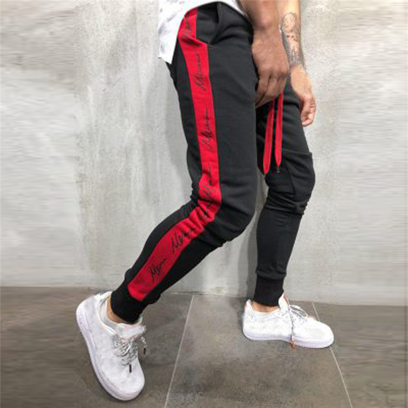 Mens Autumn Winter Joggers Patchwork Casual Drawstring Sweatpants Trouser Pants 2019 New Sweatpants Dropshipping F#N26