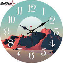 MEISTAR 3 Patterns Active Volcano Design Round Clock Decoration Silent Study Childrens Room Home Decor Large Wall Clocks 2018