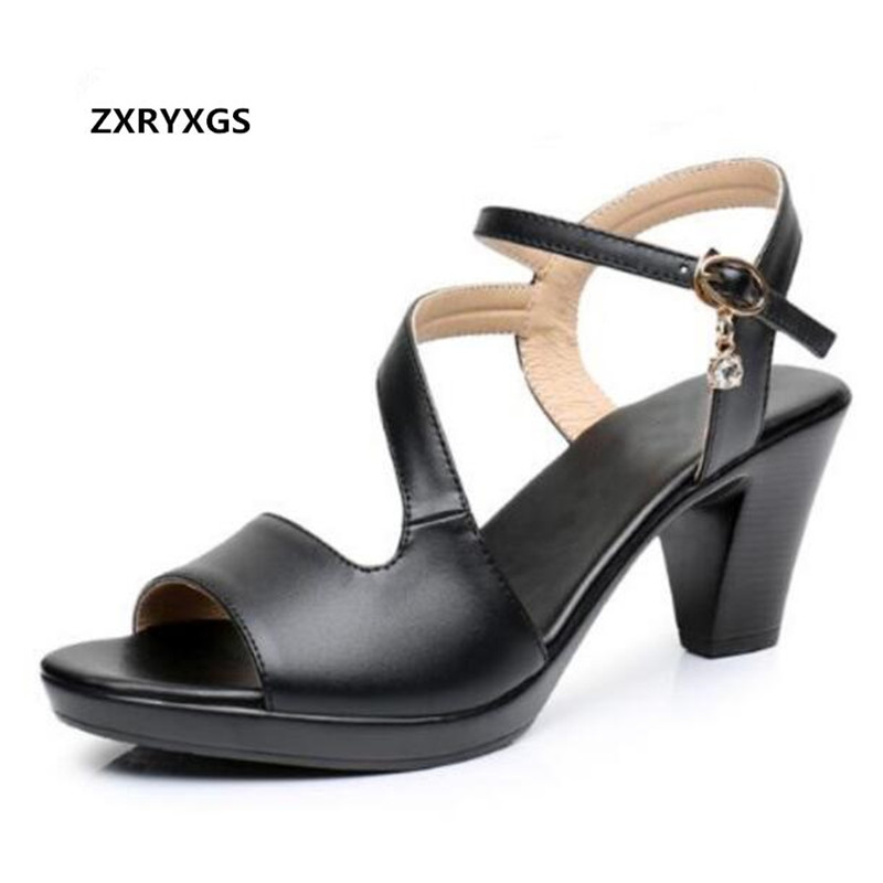 Open Toe Real Leather Shoes Woman sandals 2018 New Elegant Fashion Casual sandals Women shoes High Heeled Sandals 6 cm Plus Size sandals small open toe shoe 32 paillette bow 33 hasp high heeled shoes wedding shoes plus size women s shoes 43 free shiopping