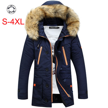 Woxingwosu Men's hooded parkas Cotton jacket Thickened Big fur collar and Hat, warm cotton coat size S to 3XL 4XL
