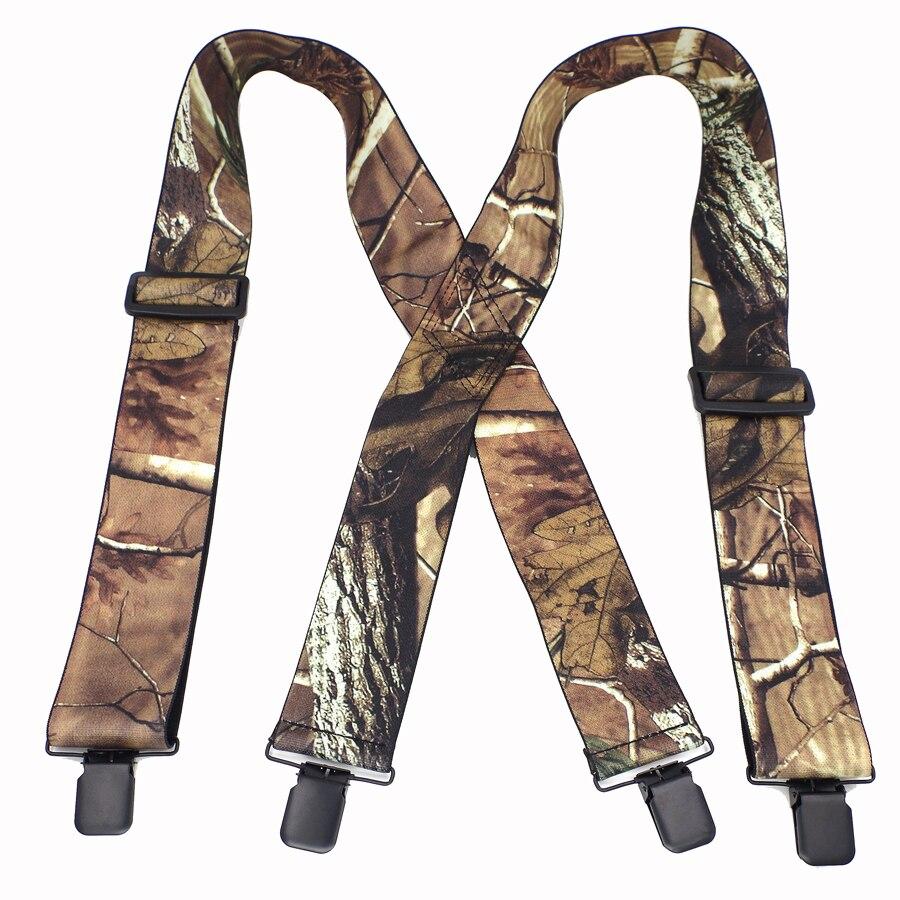 Camuflagem Suspensórios Suspensórios Masculinos do Homem Ao Ar Livre Do Vintage Tiras Bretelles adulto 4 clipes suspensorio Ligas Tirantes 5*120 cm