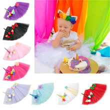 Oaoleer Hair Accessories Unicorn Bands Set for Girls TUTU Skirt Headbands with Flowers Polyester Baby