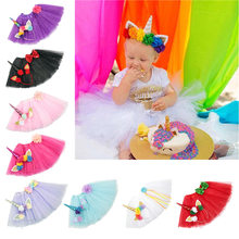 Oaoleer Hair Accessories Unicorn Hair Bands Set for Girls TUTU Skirt Headbands with Flowers Polyester Accessories for Baby Girls()