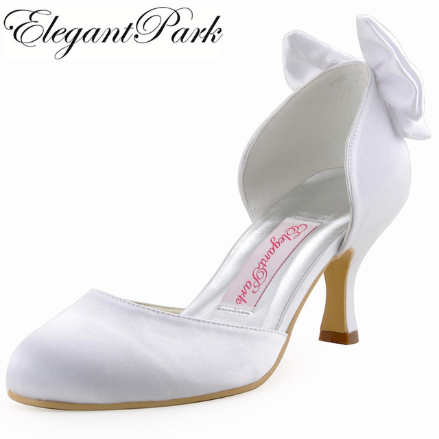 Woman Wedding Shoes Med Heels Closed Toe Bows Comfortable Two Pieces Satin Lady Bride Bridal