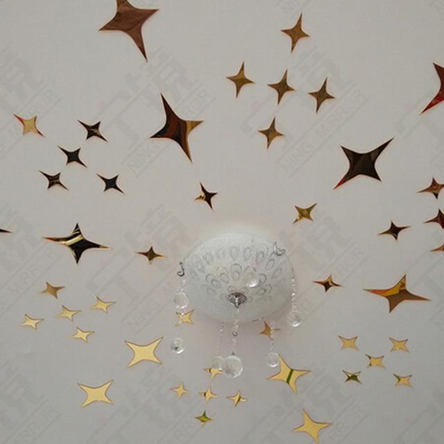 72pcs Stars Sky Mirror Wall Stickers Celling Room Decor Tv Wallpaper Decoration