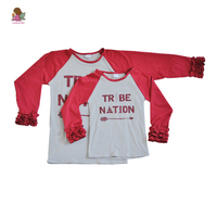 Fall baby girls full sleeve cotton boutique mother and child family red raglan ruffles top shirts kids wear clothing A008
